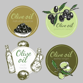Ensemble d'étiquettes d'huile d'olive dessinées à la main