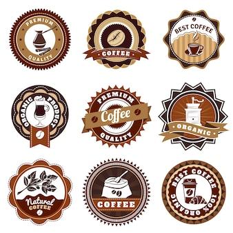 Ensemble d'étiquettes d'icônes de café marron