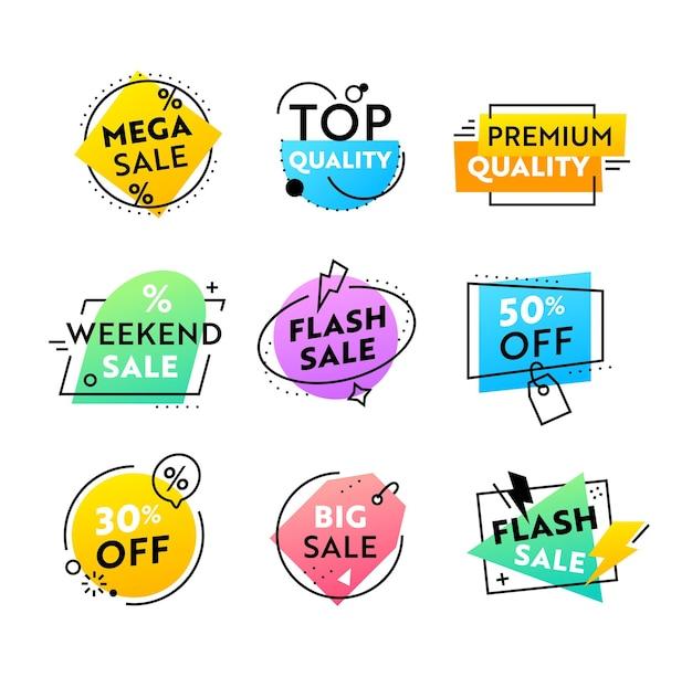Ensemble d'étiquettes ou d'icônes colorées avec des formes géométriques abstraites à vendre, conception de modèles de publication promotionnelle pour le marketing numérique des médias sociaux. flyers pour la promotion de la marque d'influence. illustration vectorielle