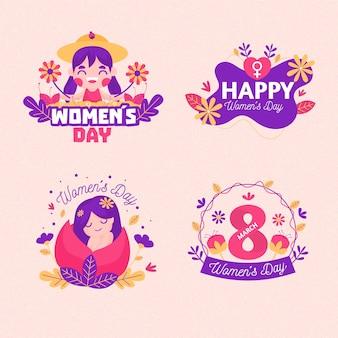 Ensemble d'étiquettes de la journée internationale de la femme