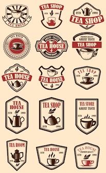 Ensemble d'étiquettes de maison de thé vintage.