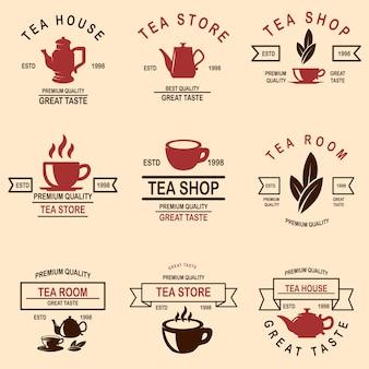 Ensemble d'étiquettes de maison de thé.