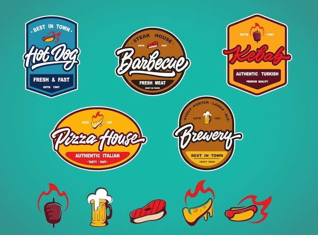 Ensemble d'étiquettes, de modèles de conception de logotype et d'éléments pour différents fast-foods, pubs, bars et autres