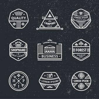 Ensemble d'étiquettes modernes hipster noir et blanc