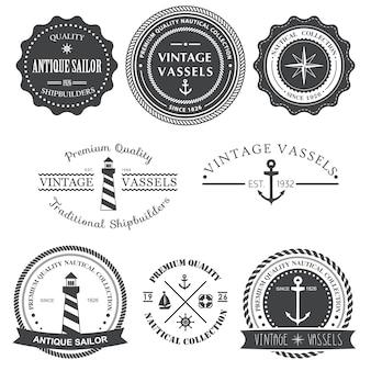 Ensemble d'étiquettes nautiques vintage, icônes et éléments de conception