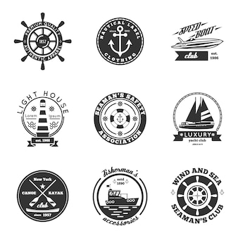 Ensemble d'étiquettes nautiques