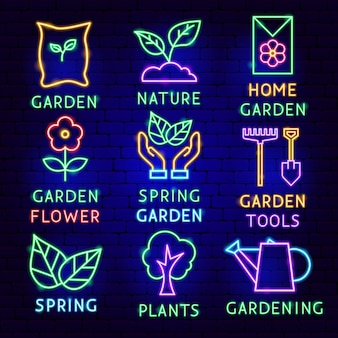 Ensemble d'étiquettes de néon de jardin. illustration vectorielle de la promotion de la nature.