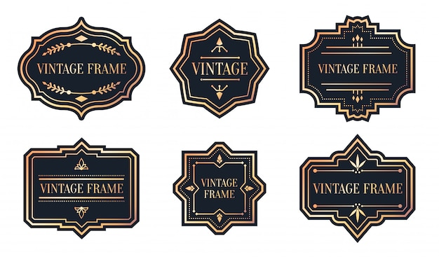 Ensemble d'étiquettes noires rétro avec vintage cadre en or rose. forme différente pour l'autocollant du paquet.
