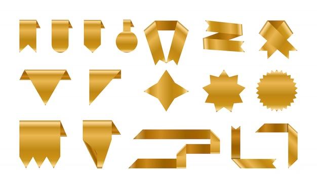 Ensemble d'étiquettes en or brillant et ruban.