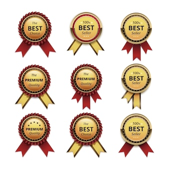 Ensemble d'étiquettes d'or de garantie de qualité supérieure avec des rubans pourpre rouge foncé close up isolé sur fond blanc