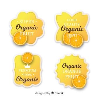 Ensemble d'étiquettes orange biologique réaliste