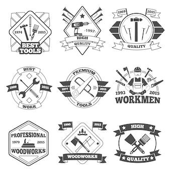 Ensemble d'étiquettes d'outils de travail
