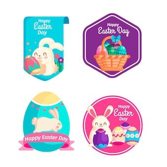 Ensemble d'étiquettes de pâques design plat