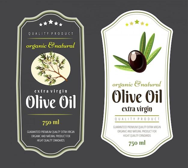 Ensemble d'étiquettes plates et badges d'huile d'olive. modèles dessinés à la main pour l'emballage d'huile d'olive