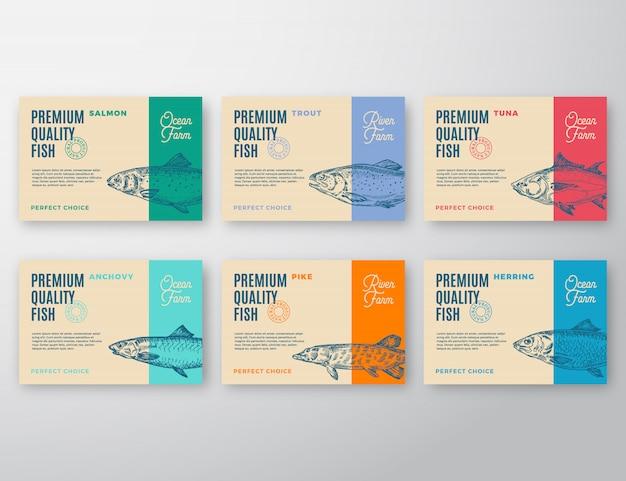 Ensemble d'étiquettes de poisson de qualité supérieure.