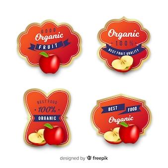 Ensemble d'étiquettes de pommes biologiques réalistes