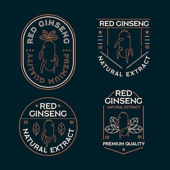 Ensemble d'étiquettes de pot de ginseng