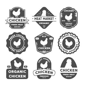 Ensemble d'étiquettes de poulet, badges et éléments de conception. logo biologique de poulet.