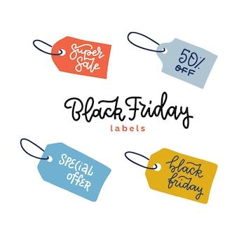 Ensemble d'étiquettes pour bannières de vente vendredi noir. étiquette pour la promotion. sur fond blanc. illustration dessinée à la main avec lettrage linéaire.