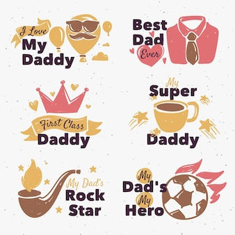 Ensemble d'étiquettes pour la fête des pères