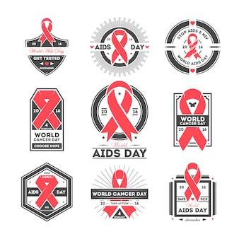 Ensemble d'étiquettes pour la journée mondiale contre le sida et le cancer