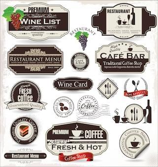 Ensemble d'étiquettes pour restaurant et café