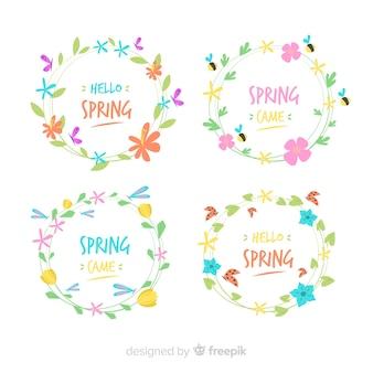 Ensemble d'étiquettes de printemps couronne florale