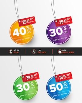 Ensemble d'étiquettes de prix colorées