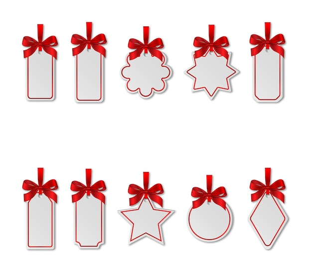 Ensemble d'étiquettes de prix de noël blanches avec des arcs rouges