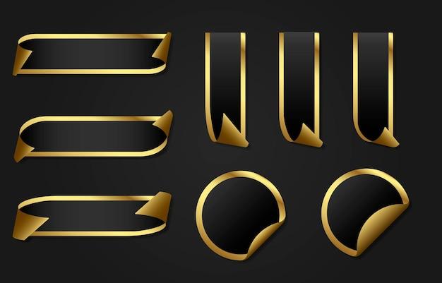 Ensemble d'étiquettes de prix de rubans d'or remises