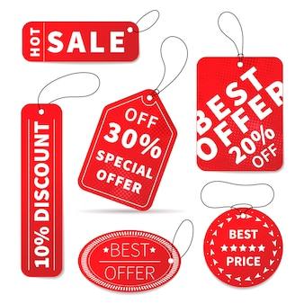Ensemble d'étiquettes de prix de vente colorés lumineux sur blanc