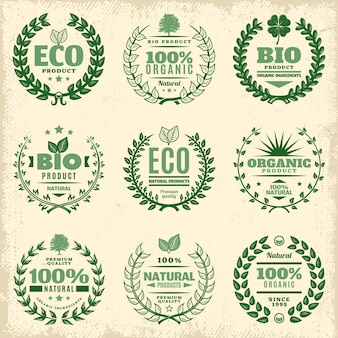 Ensemble d'étiquettes de produit écologique vert vintage