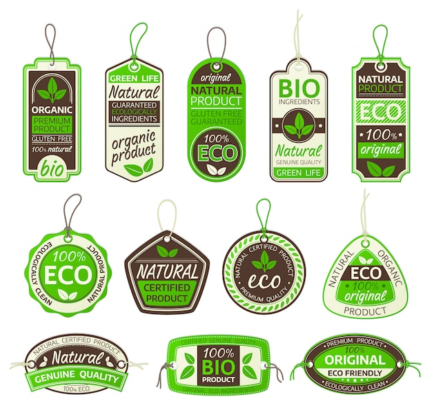 Ensemble d'étiquettes de produits écologiques