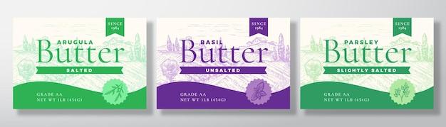 Ensemble d'étiquettes de produits laitiers au basilic et au persil au beurre de roquette