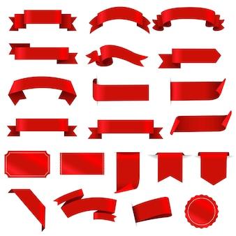 Ensemble d'étiquettes rouges et ruban fond blanc