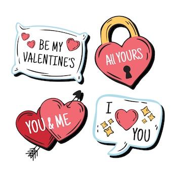 Ensemble d'étiquettes saint valentin dessinés à la main
