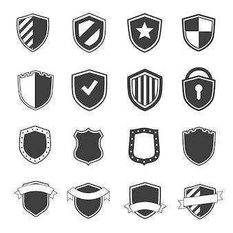 Ensemble d'étiquettes de sécurité couleur noire et style plat