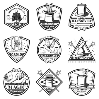 Ensemble d'étiquettes de spectacle de magie monochrome vintage