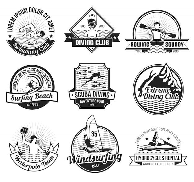 Ensemble d'étiquettes de sport aquatique noir