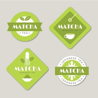 Ensemble d'étiquettes thé matcha minimaliste vert