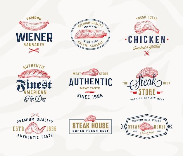 Ensemble d'étiquettes de typographie de steak house ou de viande