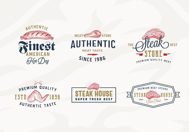 Ensemble d'étiquettes de typographie vintage, d'emblèmes ou de modèles de logo steak house ou magasin de viande
