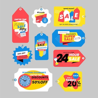 Ensemble d'étiquettes de vente design plat