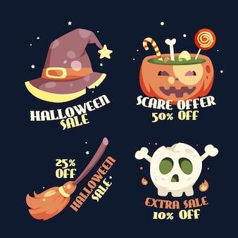 Ensemble d'étiquettes de vente halloween design plat