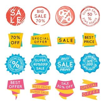 Ensemble d'étiquettes de vente d'offres spéciales
