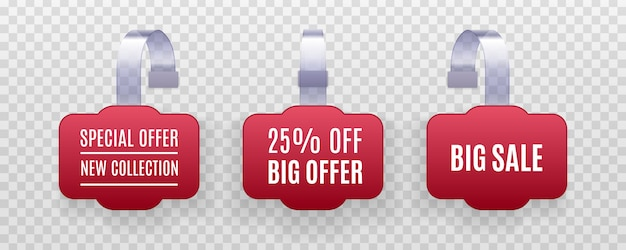 Ensemble d'étiquettes de vente de promotion wobbler rouge détaillées réalistes sur fond transparent. autocollant de réduction, offre spéciale, bannière de prix en plastique, étiquette pour votre.