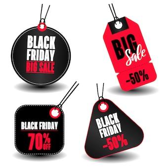 Ensemble d'étiquettes de vente avec texte black friday