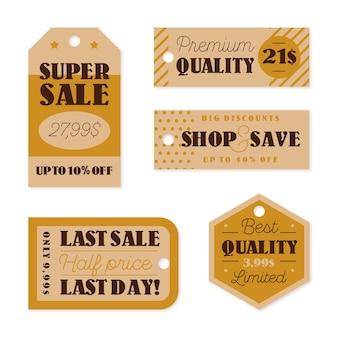 Ensemble d'étiquettes de vente vintage