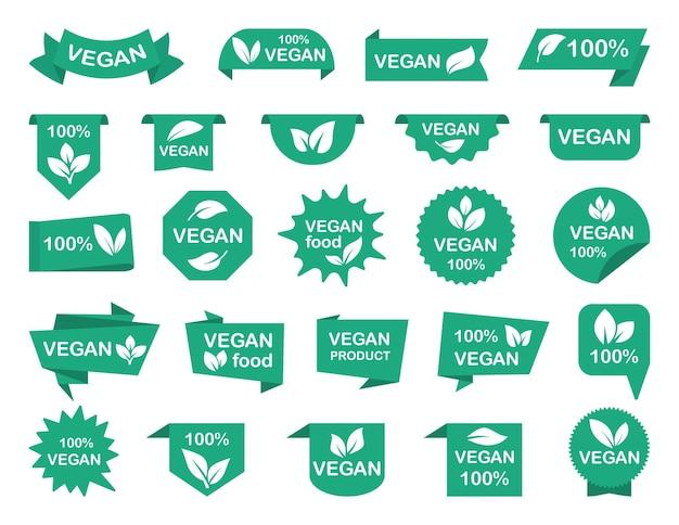Ensemble d'étiquettes vertes végétaliennes bannières et étiquettes de rubans végétaliens pour la promotion de produits végétariens