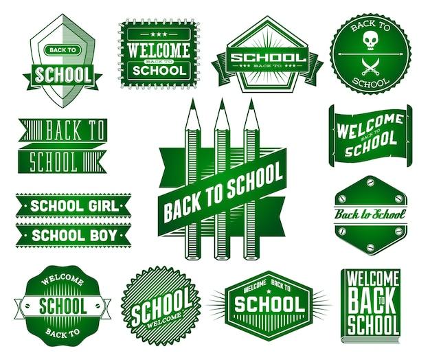 Ensemble d'étiquettes vintage école